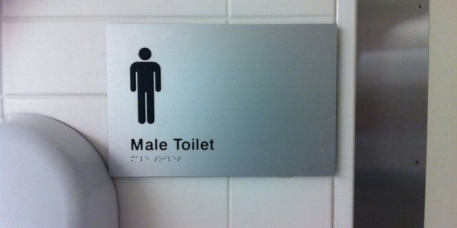 Male Toilet Sign with Braille